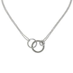 Round Link Pendant Necklace - Crystal/Rhodium Plated