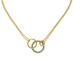 Round Link Pendant Necklace - Crystal/Gold Plated
