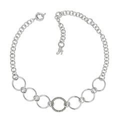 Round Link Choker Necklace - Crystal/Rhodium Plated