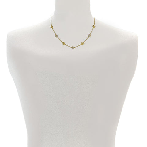 Pavé & Metal Station Necklace - Crystal/Rhodium Plated