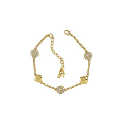 Pavé & Metal Station Bracelet - Crystal/Gold Plated