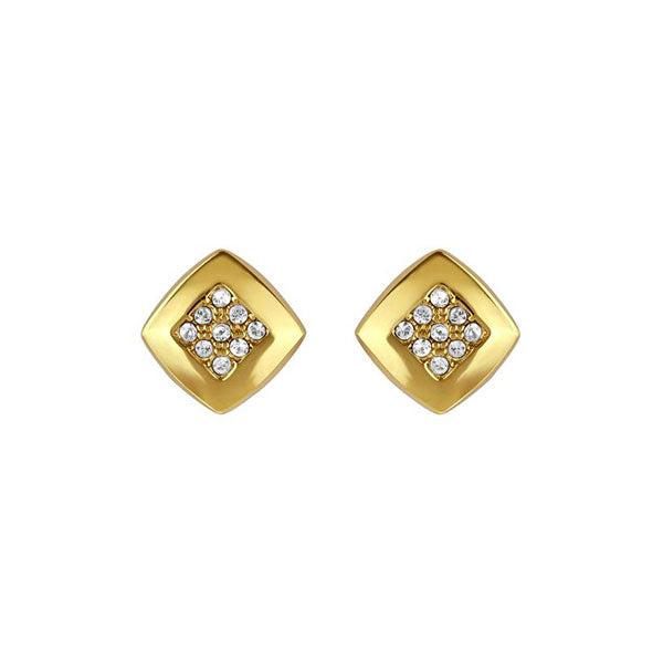 Pavé & Metal Stud Earrings - Crystal/Gold Plated