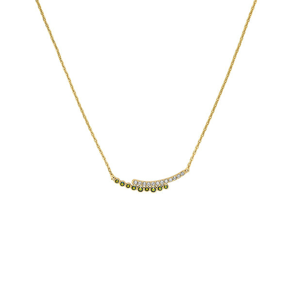 Pavé & Round Curved Bar Necklace - Mixed Crystal/Gold Plated