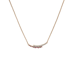 Pavé & Round Curved Bar Necklace - Mixed Crystal/Rose Gold Plated