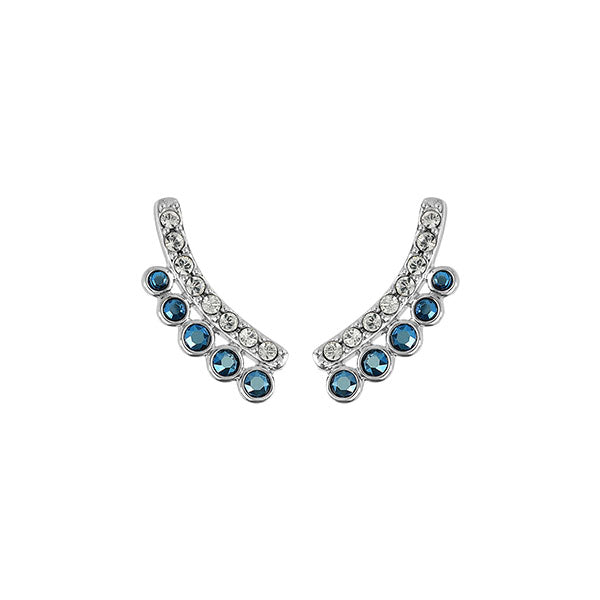 Pavé & Round Earring Crawler - Mixed Crystal/Rhodium Plated