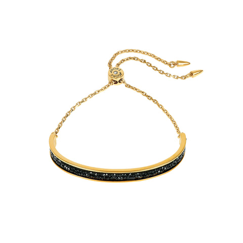 Ultra Fine Rock Slide Bracelet - Black Crystal/Gold Plated