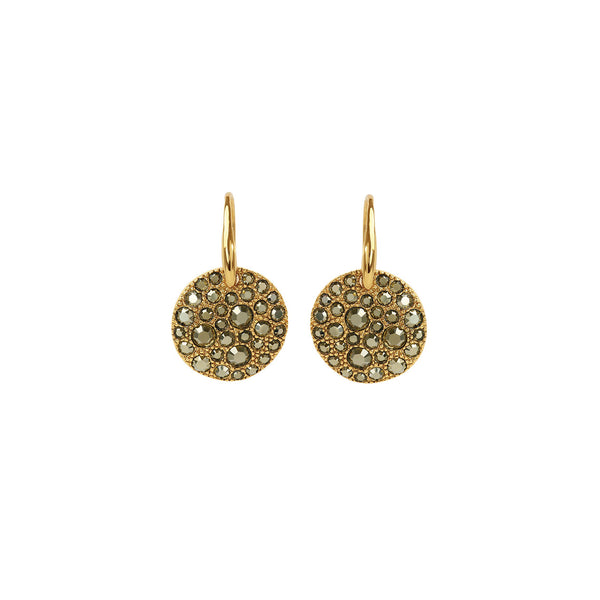 Metallic Pavé Disc French Wire Earrings - Light Gold Crystal/Gold Plated