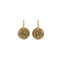 Metallic Pavé Disc French Wire Earring - Light Gold Crystal/Gold Plated