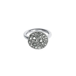 Metallic Pavé Disc Ring - Crystal/Rhodium Plated