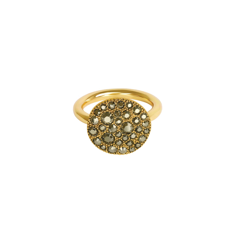 Metallic Pavé Disc Ring - Light Gold Crystal/Gold Plated