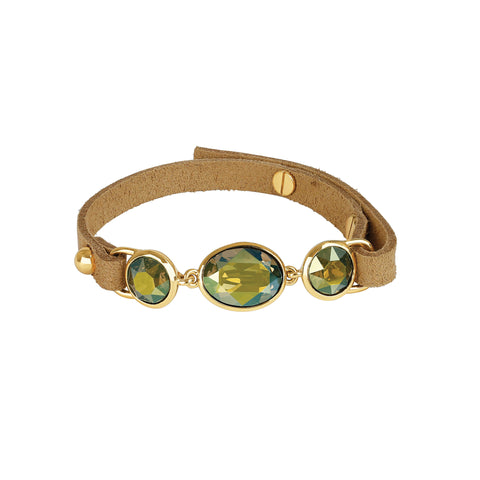 Crystal & Suede Bracelet - Green Crystal/Gold Plated