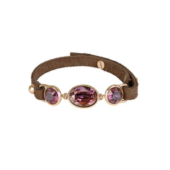Crystal & Suede Bracelet - Lilac Shadow Crystal/Rose Gold Plated