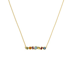 Mixed Crystal Bar Necklace - Mixed Crystals/Gold Plated