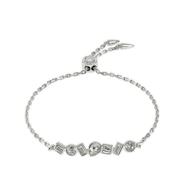 Mixed Crystal Bar Slide Bracelet - Crystal/Rhodium Plated