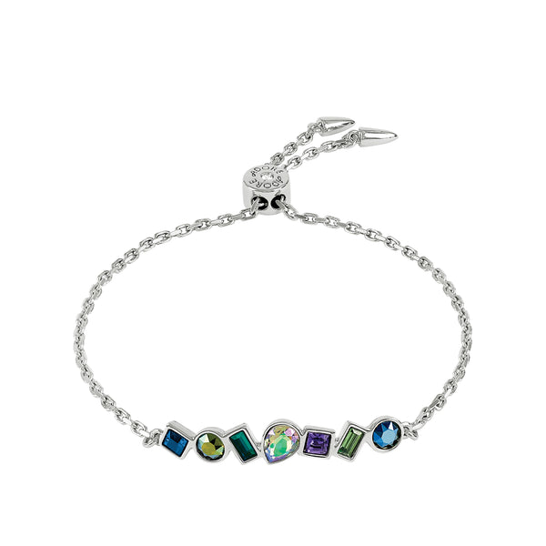 Mixed Crystal Bar Slide Bracelet - Blue Crystal/Rhodium Plated