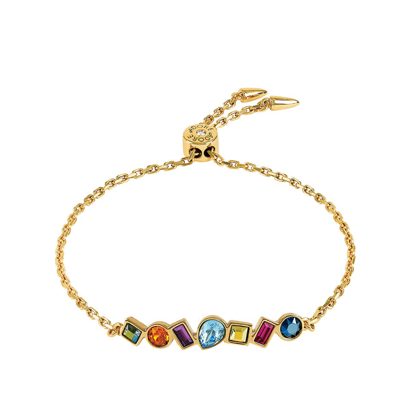 Mixed Crystal Bar Slide Bracelet - Mixed Crystals/Gold Plated