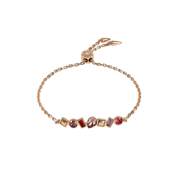 Mixed Crystal Bar Slide Bracelet - Pink Crystals/Rose Gold Plated