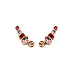 Mixed Crystal Earring Crawler - Pink Crystals/Rose Gold Plated