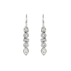 Mixed Crystal French Wire Earring - Crystal/Rhodium Plated