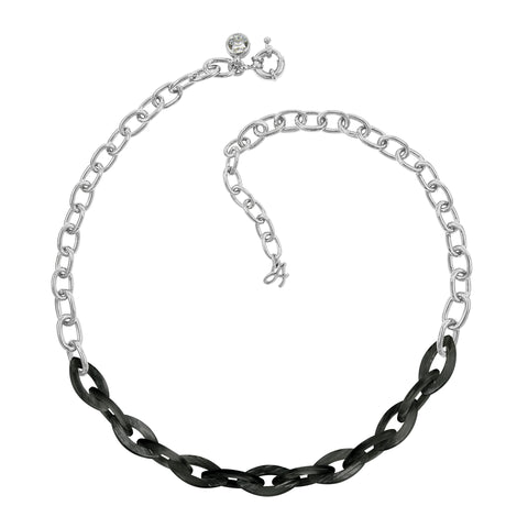 Resin Link Necklace - Silver Shade Crystal/Rhodium Plated