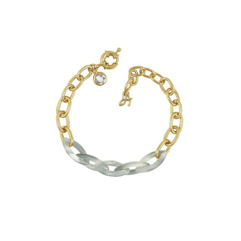 Resin Link Bracelet - Silver Shade Crystal/Gold Plated