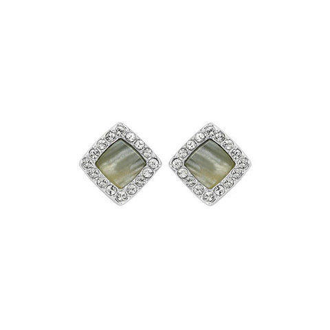 Resin & Pavé Post Earrings - Crystal/Rhodium Plated