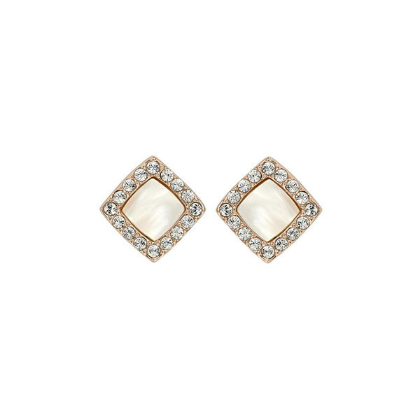 Resin & Pavé Post Earrings - Crystal/Rose Gold Plated