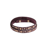 Mixed Double Wrap Bracelet - Burgundy Crystal/Rose Gold Plated