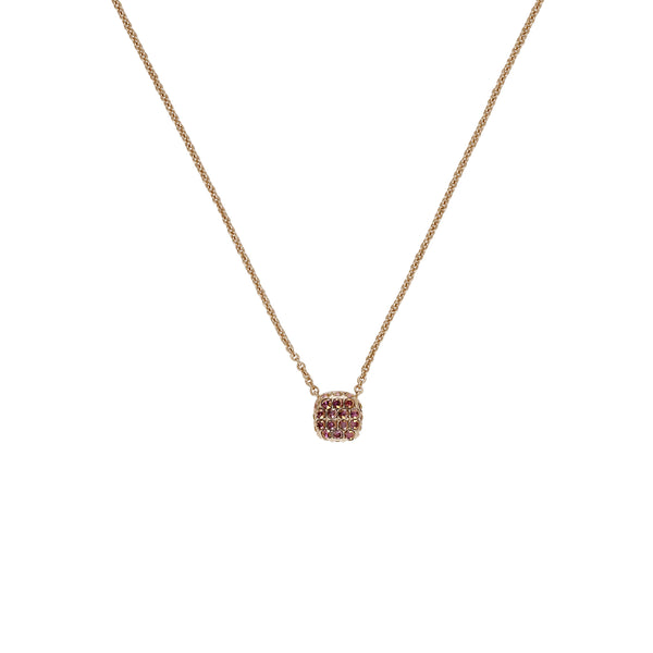 Pavé Cushion Necklace - Lilac Shadow Crystal/Rose Gold Plated