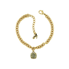 Pavé Cushion Bracelet - Green Crystal/Gold Plated