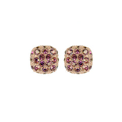 Pavé Cushion Earring - Lilac Shadow Crystal/Rose Gold Plated