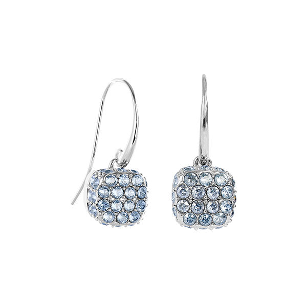 Pavé Cushion French Wire Earrings - Blue Crystal/Rhodium Plated