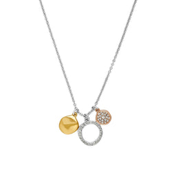 Organic Circle Charm Necklace - Crystal/Rhodium Plated