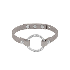 Organic Circle Suede Bracelet - Crystal/Rhodium Plated