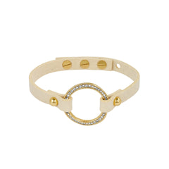 Organic Circle Suede Bracelet - Crystal/Gold Plated