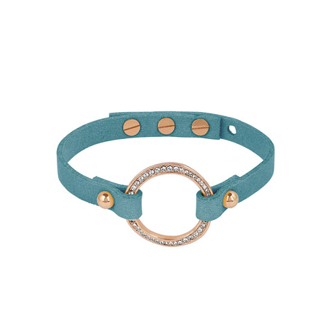 Organic Circle Suede Bracelet - Crystal/Rose Gold Plated
