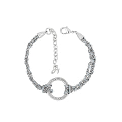 Organic Circle Braided Bracelet - Crystal/Rhodium Plated