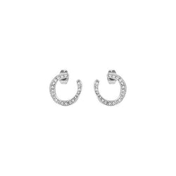 Organic Circle Hoops - Crystal/Rhodium Plated