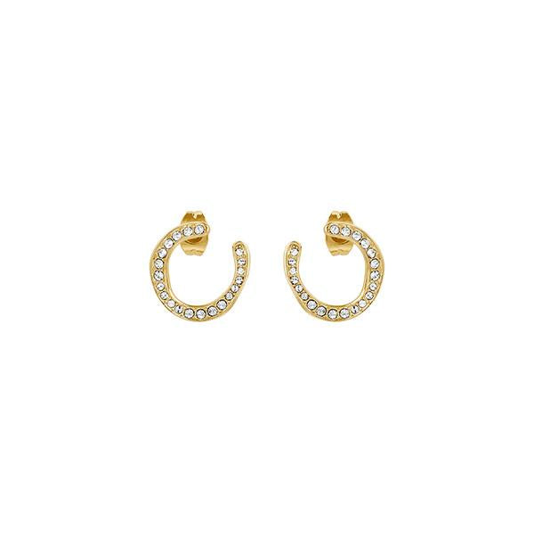 Organic Circle Hoops - Crystal/Gold Plated