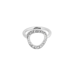 Organic Circle Ring - Crystal/Rhodium Plated