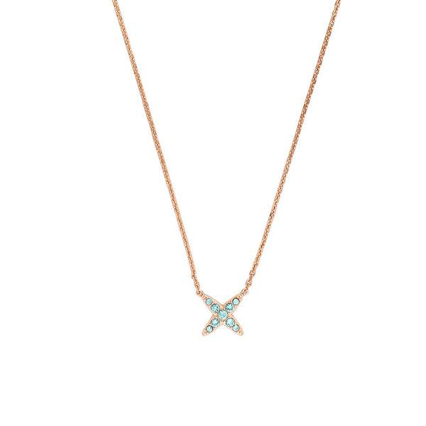 4 Point Star Necklace - Indian Sapphire/Rose Gold Plated