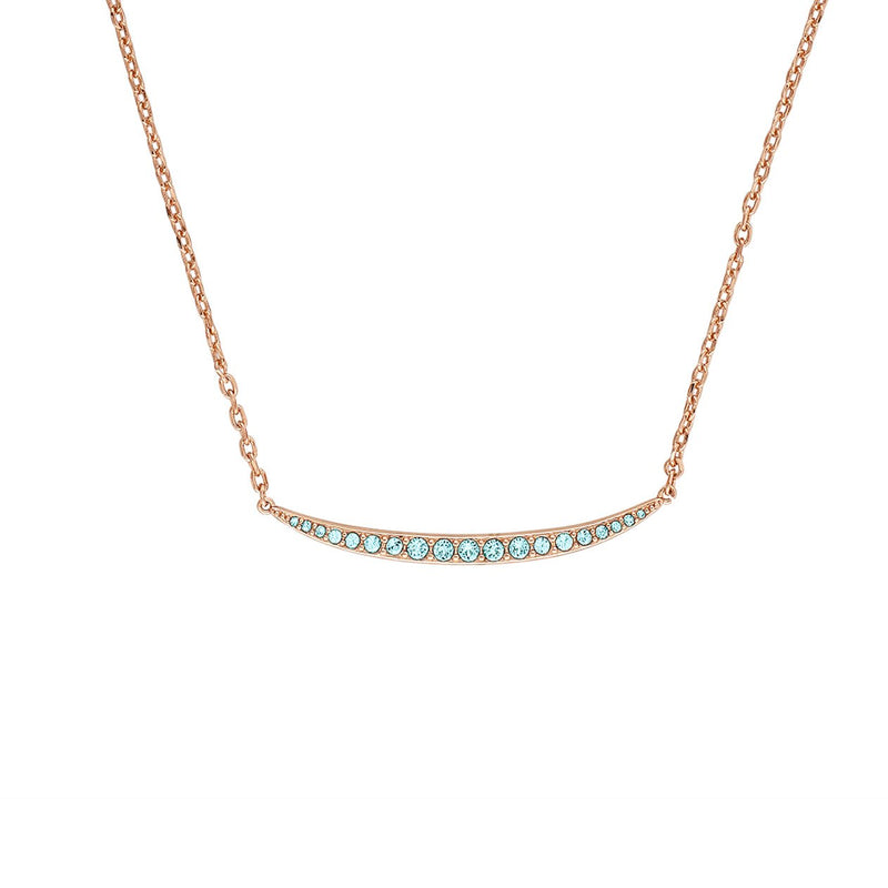 Curved Bar Necklace - Indian Sapphire/Rose Gold Plated