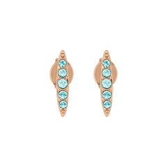 Pavé Navette Stud Earring - Indian Sapphire/Rose Gold Plated