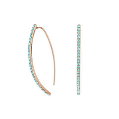 Pavé Arc Earrings - Indian Sapphire/Rose Gold Plated