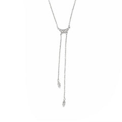 Pavé Swoop Y-Necklace - Crystal/Rhodium Plated