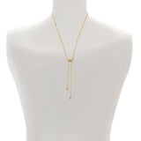 Pavé Swoop Y-Necklace - Indian Sapphire/Rose Gold Plated