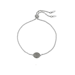 Pavé Oval Slide Bracelet - Crystal/Rhodium Plated