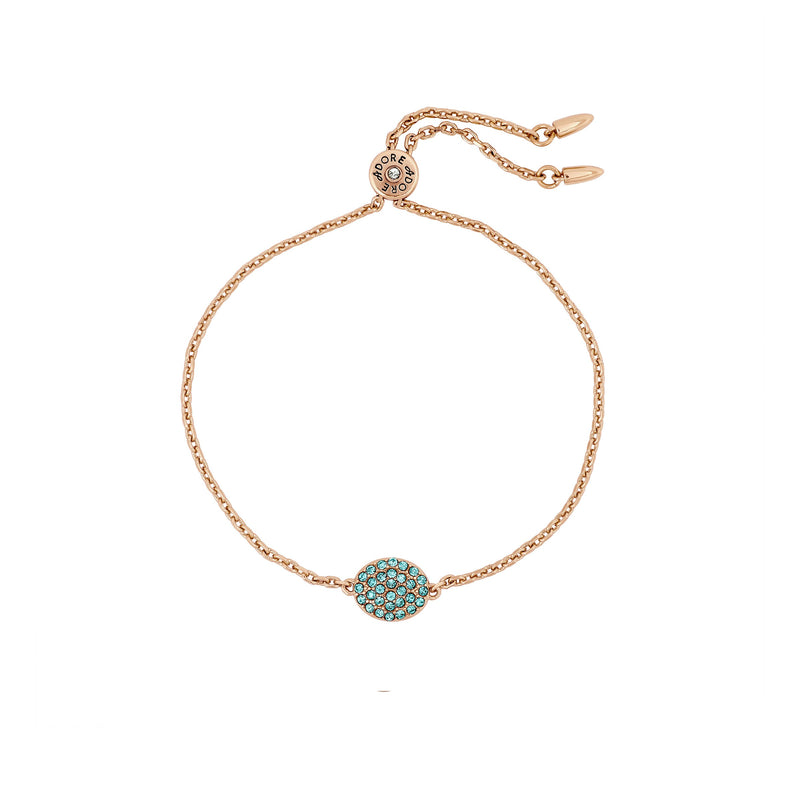 Pavé Oval Slide Bracelet - Indian Sapphire/Rose Gold Plated