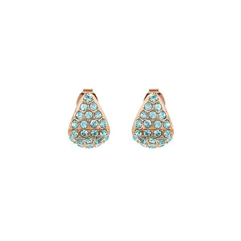 Pavé Triangle Earrings - Indian Sapphire/Rose Gold Plated