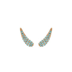 Pavé Swoop Earring Crawler - Indian Sapphire/Rose Gold Plated